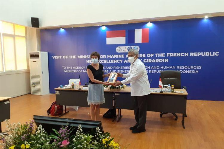 Kunjungan Menteri Kelautan Republik Prancis, Annick Girrardin ketika berkunjung ke Kantor Balai Riset Sumber Daya Manusia KKP di Ancol, Jakarta, Kamis (10/6/2021) mendiskusikan sejumlah kerja sama.