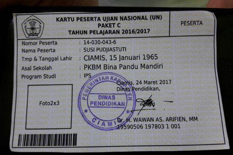 Kartu UNBK Menteri Susi Pudjiastuti di SMAN 1 Ciamis.