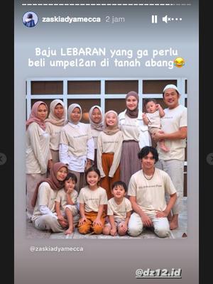 Unggahan Insta Story Zaskia Adya Mecca. Ia sebut baju Lebaran keluarganya dibeli tak perlu berkerumun di Pasar Tanah Abang