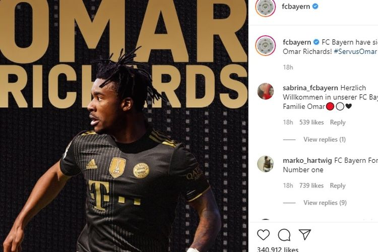 Rekrutan baru Bayern Muenchen, Omar Richards (Inggris), Kamis (27/5/2021) waktu setempat. Sumber foto: Instagram Bayern Muenchen/fcbayern. (Dok. Bayern Muenchen)
