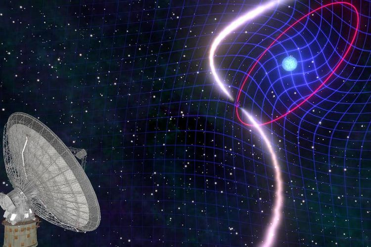 Sistem biner bintang pulsar kerdil/katai putih PSR J1141-6545 ditemukan oleh teleskop radio Parkes milik CSIRO. Pulsar mengorbit pada pendamping kerdil putihnya setiap 4,8 jam. Rotasi cepat kerdil putih menyeret ruang-waktu di sekitarnya, menyebabkan seluruh orbit jatuh di ruang angkasa