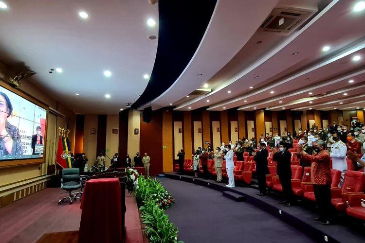 Presiden RI Kelima Megawati Soekarnoputri menyampaikan  orasi kebangsaan di pembukaan studi doktoral Universitas Pertahanan (Unhan) Indonesia, Sabtu (29/8/2020).