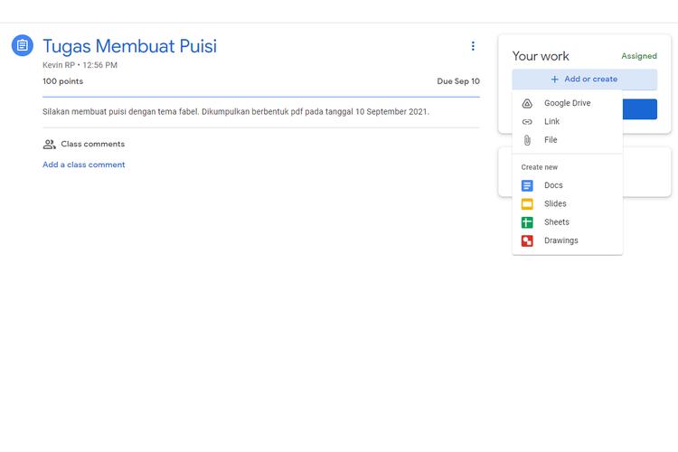 Beragam metode mengumpulkan tugas yang tersedia di Google Classroom.