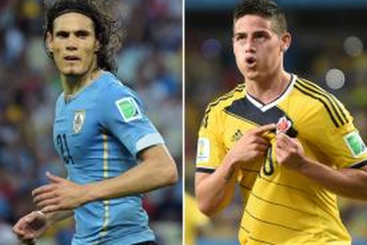 Striker tim nasional Uruguay, Edinson Cavani dan gelandang Kolombia,  James Rodriguez.