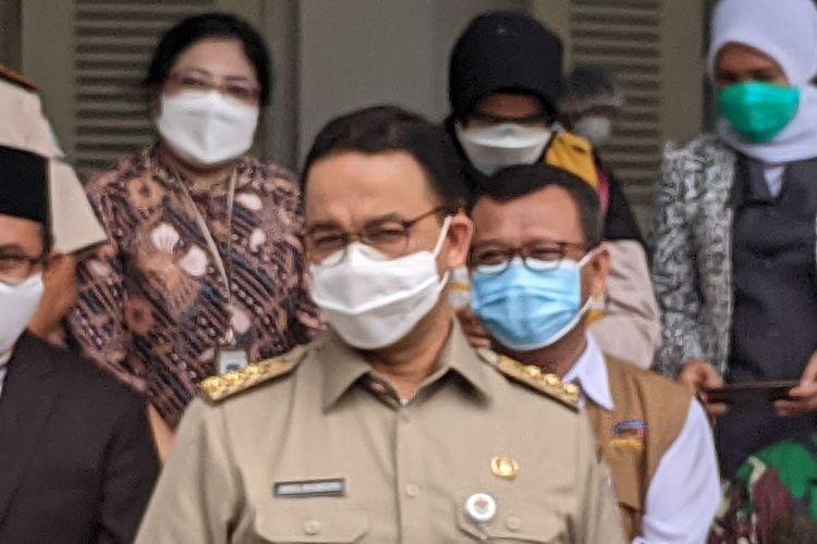 Gubernur DKI Jakarta Anies Baswedan dalam acara pencanangan vanksinasi Covid-19 di Balai Kota DKI Jakarta, Jalan Medan Merdeka Selatan, Gambir, Jakarta Pusat, Jumat (15/1/2021)