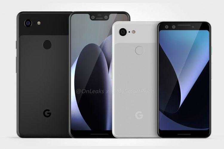 Bocoran tampilan smartphone Google Pixel 3 dan Pixel 3 XL.