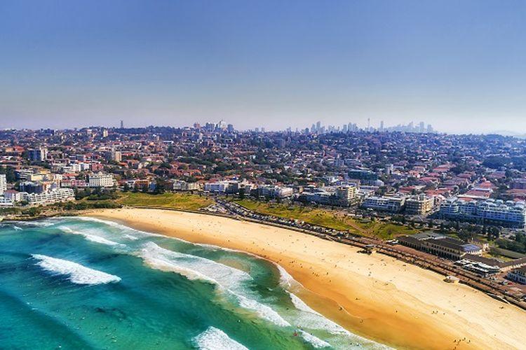 Ilustrasi Australia - Pantai Bondi di Sydney.