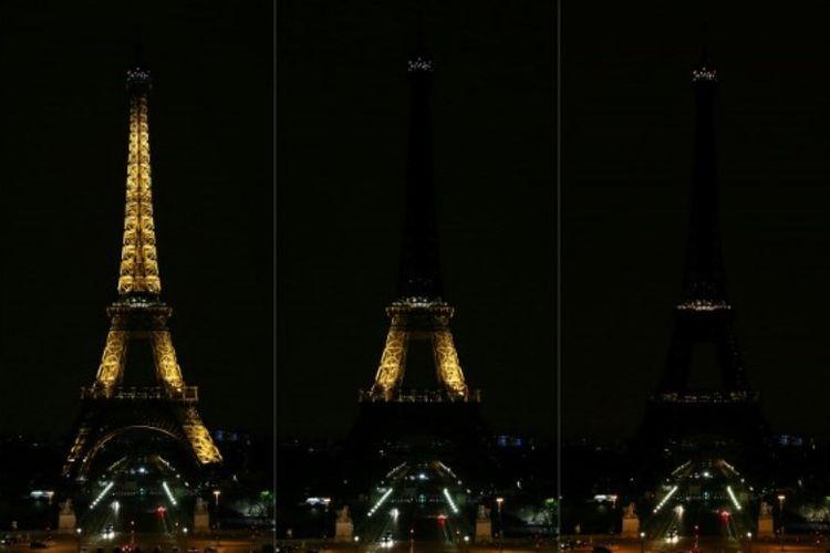 Kombinasi gambar yang menunjukkan ikon kota Paris Menara Eiffel saat lampu dimatikan pada Minggu (28/10/2018) untuk menghormati korban serangan anti-semitisme di Pittsburgh, Pennsylvania, Amerika Serikat. (AFP/Zakaria Abdelkafi)