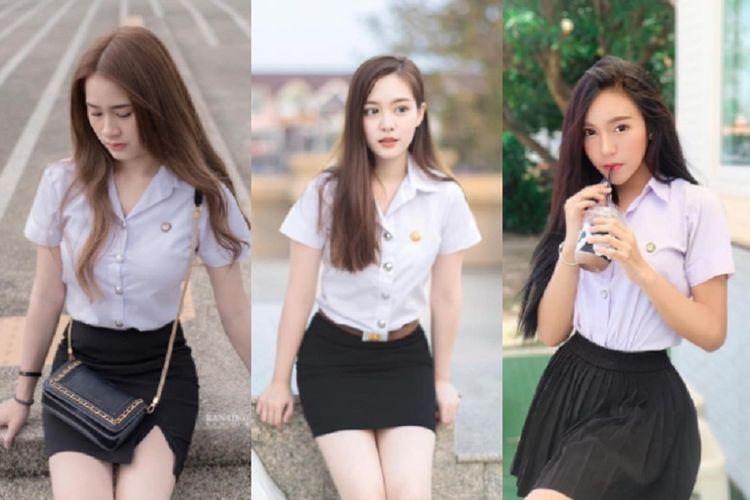 Ilustrasi seragam sekolah pendek di Thailand yang kini dianggap ilegal.