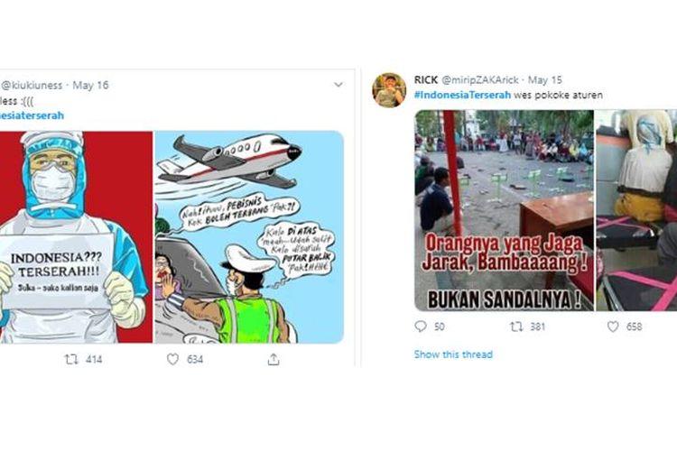 Kritik yang dilayangkan karena adanya pelonggaran pembatasan dan ketidakdisiplinan masyarakat selama masa pandemi virus corona melalui tagar #IndonesiaTerserah.