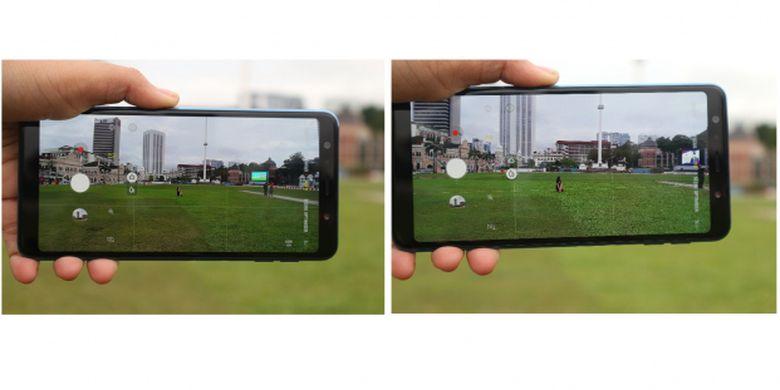 Kamera belakang Gaalxy A7 dalam mode auto dengan wide angle (kiri) dan tanpa wide angle