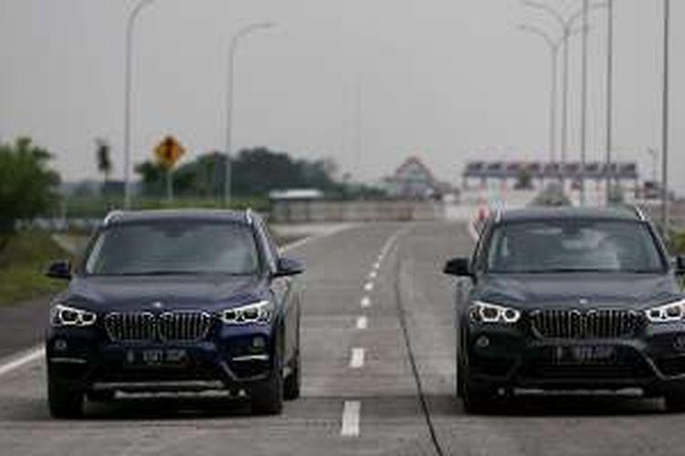 BMW X1 di ruas jalan tol Mojokerto Barat - Mojokerto Utara, Jawa Timur, Selasa (28/06/2016). Ruas jalan tol ini akan digunakan sementara untuk jalur mudik Lebaran 2016.