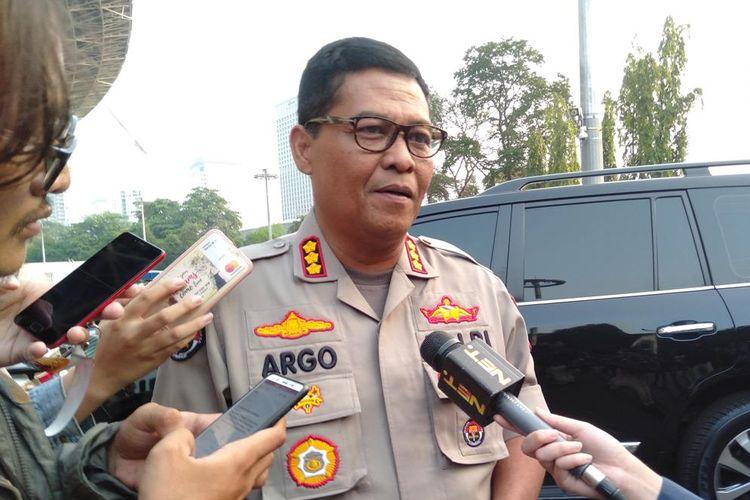 Kabid Humas Polda Metro Jaya, Komisaris Besar Argo Yuwono di Stadion Utama Gelora Bung Karno, Jakarta Pusat, Rabu (10/7/2019)