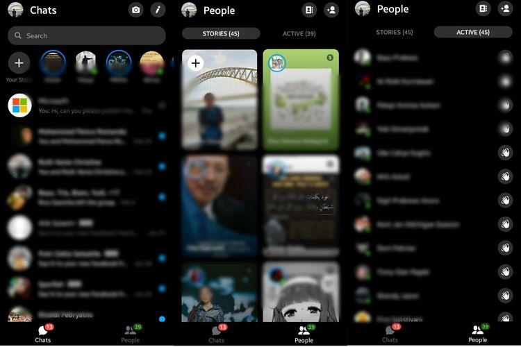Tampilan terbaru Facebook Messenger menyodorkan tampilan tab Chats dan tab People.