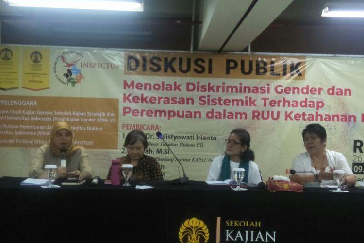 Acara Diskusi Menolak Diskriminasi Gender dan Kekerasan Sistematik Terhadap Perempuan dan RUU Ketahanan Keluarga, di Universitas Indonesia, Salemba, Jakarta Pusat, Rabu (26/2/2020)