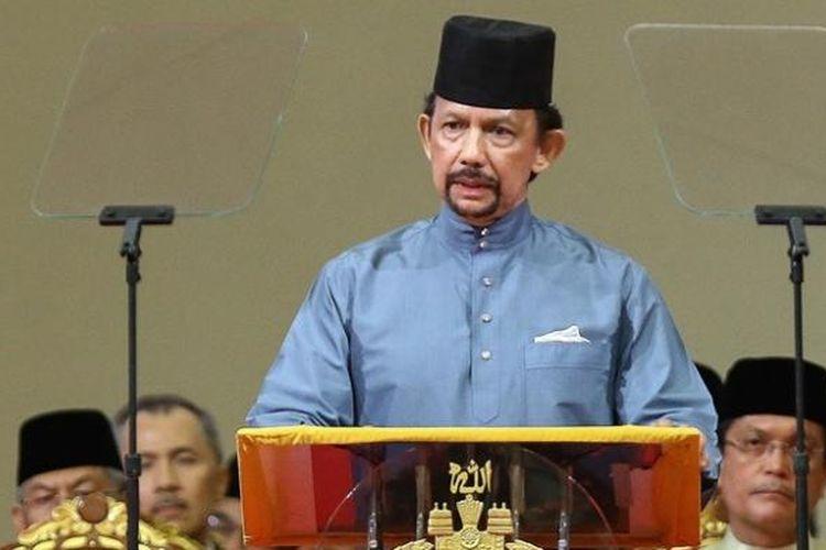 Sultan Brunei, Hassanal Bolkiah saat mengumumkan berlakunya Syariah Islam di negeri kaya minyak itu, Rabu (30/4/2014).