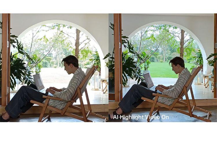 Perbandingan hasil video menggunakan fitur AI Highlight Video.