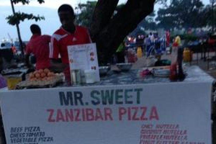 Pedagang kaki lima di Zanzibar.