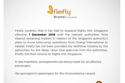 Mulai 1 Desember, Maskapai Firefly Hentikan Sementara Penerbangan ke Singapura