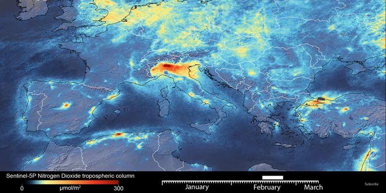 Citra satelit Copernicus Sentinel-5P milik ESA dari langit di Italia Utara, menunjukkan penurunan polusi udara secara drastis setelah Italia menyatakan lockdown karena wabah pandemi virus corona, Covid-19.