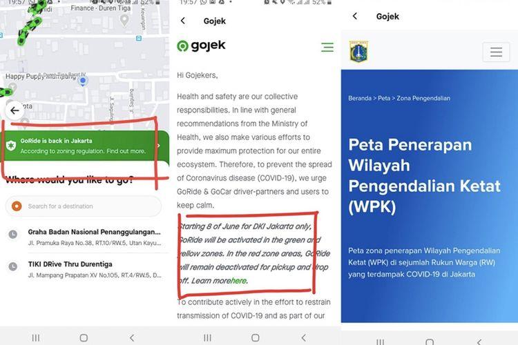 Zona merah yang bisa dilihat dari aplikasi Gojek