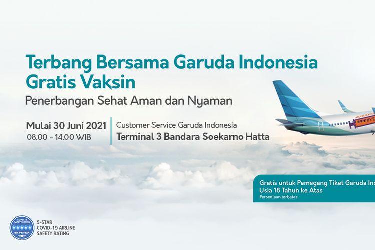 Tangkapan layar poster layanan vaksinasi Covid-19 gratis untuk penumpang Garuda Indonesia.