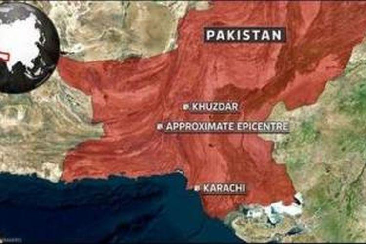Peta lokasi gempa Pakistan.