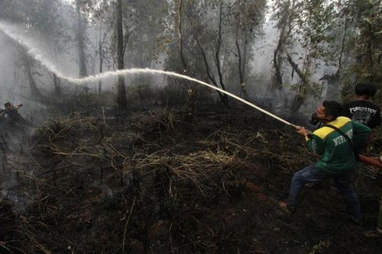 Relawan pemadam kebakaran berupaya memadamkan kebakaran lahan gambut di Kabupaten Banjar, Kalimantan Selatan, 21 Oktober.