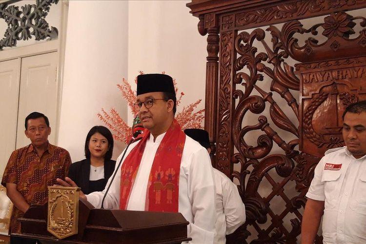 Gubernur DKI Jakarta Anies Baswedan di Balairung, Balai Kota, Jakarta Pusat, Jumat (9/8/2019)