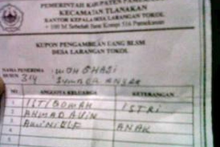 Kupon pencairan BLSM milik Muhammad Ghozi, wartawan Media Indonesia.