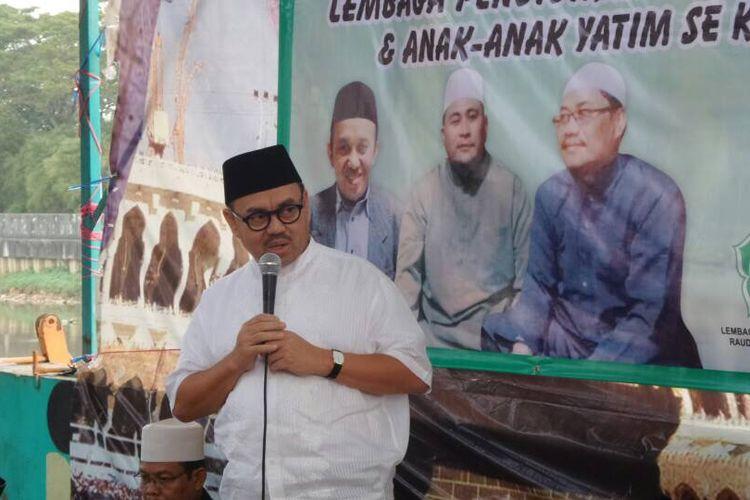 Ketua Tim Sinkronisasi untuk Anies-Sandi, Sudirman Said, saat menghadiri sebuah acara di Tambora, Jakarta Barat, Minggu (11/6/2017) sore.