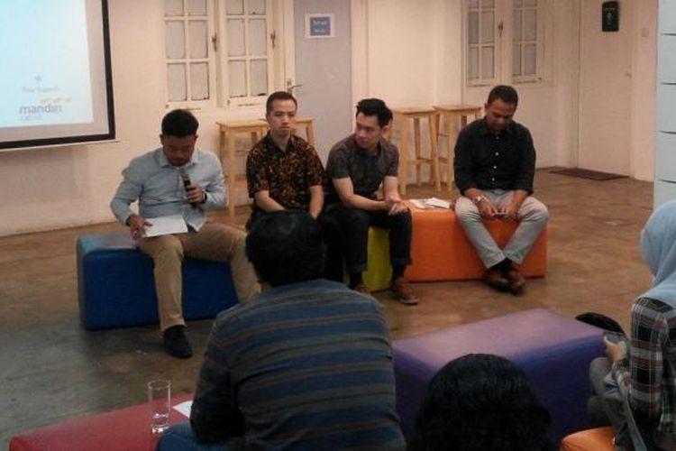 Konferensi pers Mandiri Capital Indonesia di Rumah Mandiri Inkubator Bisnis Jakarta, Senin (20/2/2017).