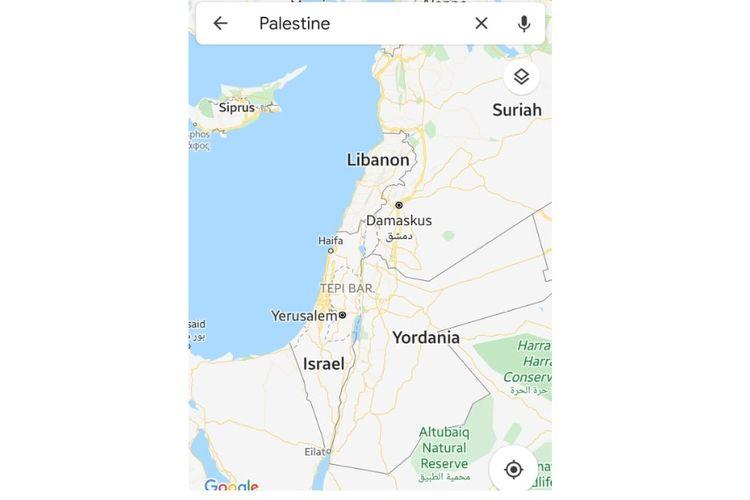 Tangkapan layar pencarian wilayah negara Palestina dari Google Maps.