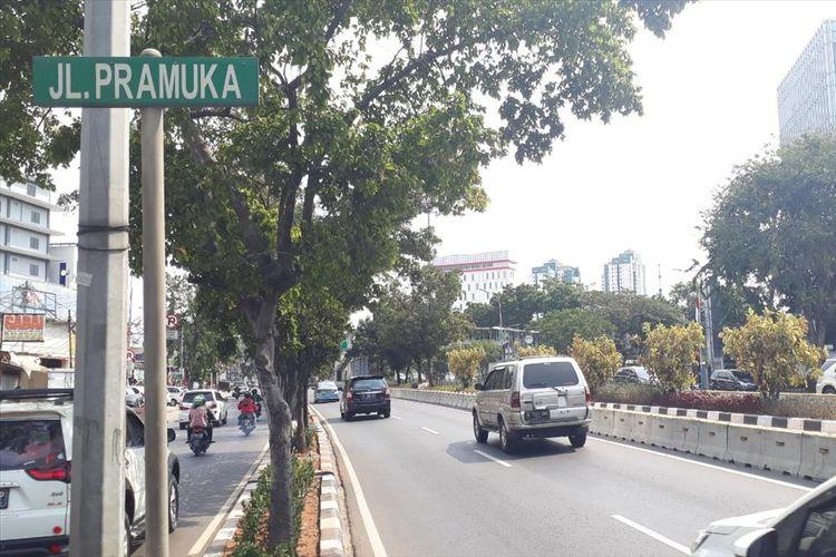 Salah satu ruas baru yang akan diterapkan sistem ganjil genap, Jalan Pramuka, Jakarta Timur, Rabu (14/8/2019).