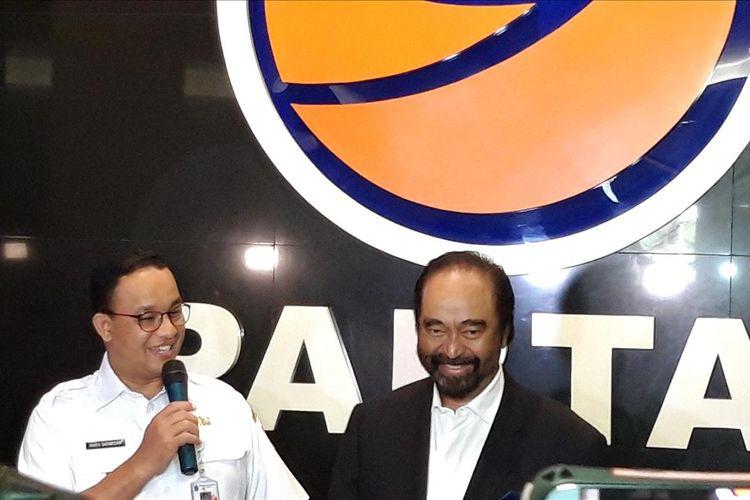 Gubernur DKI Jakarta Anies Baswedan dan Ketua Umum Partai Nasdem Surya Paloh, di Kantor DPP Partai Nasdem, Rabu (24/7/2019)