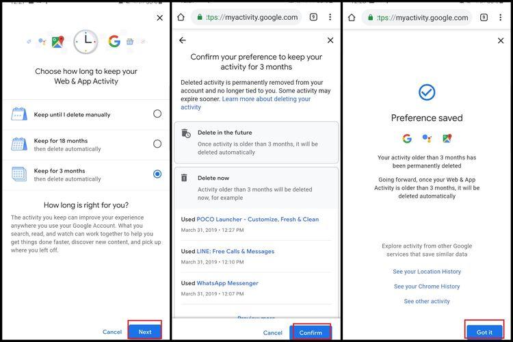 Ilustrasi langkah menghapus riwayat Google secara otomatis 2