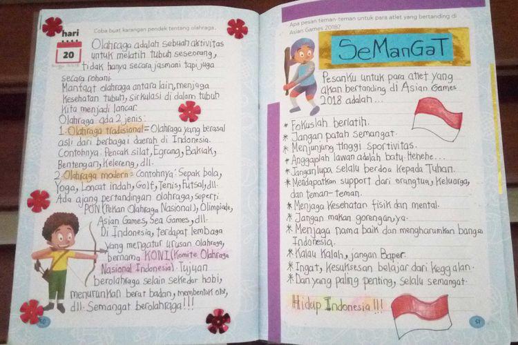 Salah satu surat dukungan untuk atlet Asian Games dari SDK BPK Penabur Bekasi, diambil dari tulisan anak-anak dalam Buku Latihan Menulis Ayo Menulis Bersama SiDU