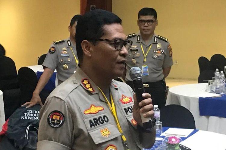 Kabid Humas Polda Metro Jaya Kombes Argo Yuwono di Hotel Mercure Ancol, Jakarta Utara, Rabu (28/8/2019).
