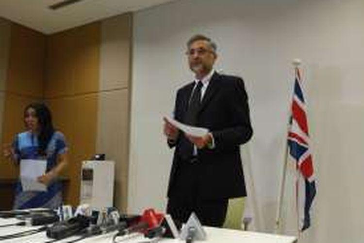 Duta Besar Inggris untuk Indonesia Moazzam Malik menggelar jumpa pers terkait Brexit di Kedubes Inggris di Jakarta,Sabtu (25/6/2016).