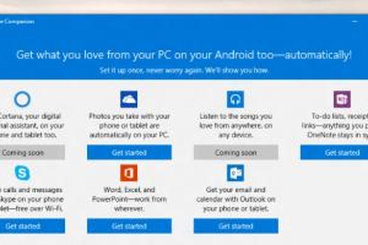 Screenshot aplikasi Phone Companion pada Windows 10