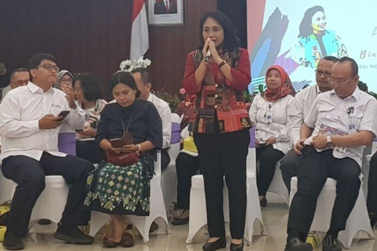 Menteri PPPA I Gusti Bintang Puspayoga saat memberikan sambutan dalam acara Media Gathering di Kantor Kemenko Polhukam, Medan Merdeka Barat, Jakarta Pusat, Selasa (14/1/2019).