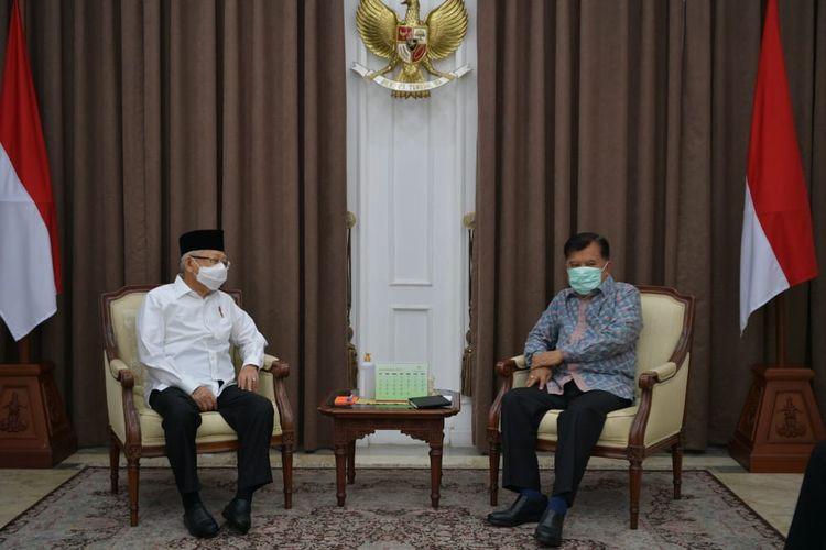 Wakil Presiden Maruf Amin bertemu dengan Wakil Presiden RI ke-10 Jusuf Kalla di kediaman dinas Wapres, Jalan Diponegoro Nomor 2 Jakarta Pusat.
