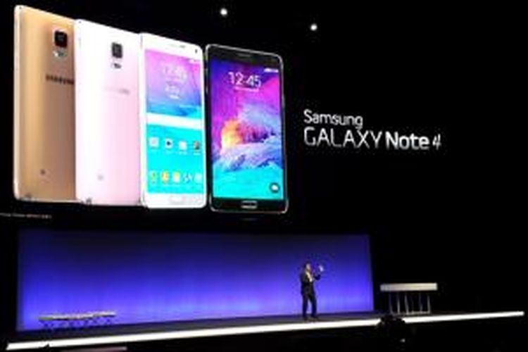 Samsung Electronics memperkenalkan sejumlah produk terbarunya pada acara Samsung Unpacked 2014 di Berlin, Jerman, Rabu (3/9/2014). Salah satu produk tersebut adalah telepon tablet Galaxy Note 4.