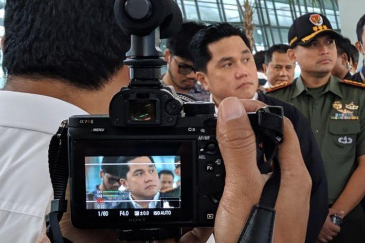 Menteri BUMN Erick Thohir saat kunjungan kerja ke Terminal 3 Bandara Soekarno-Hatta, Rabu (11/3/2020)