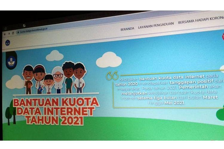 Bantuan kuota data internet dari Kemendikbud tahun 2021.