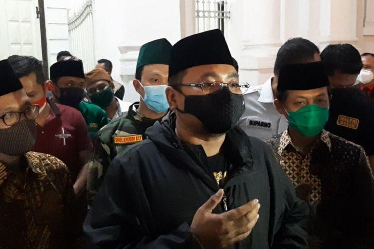 Yaqut Cholil Qoumas menyambangi GBIP Immanuel atau dikenal dengan Gereja Blenduk, Kota Lama Semarang pada Misa malam Natal, Kamis (24/12/2020).