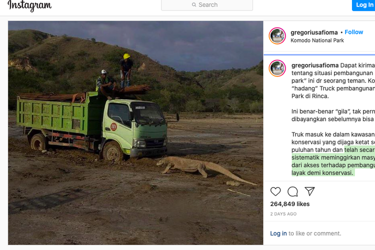 An Instagram posting on the Komodo Dragon facing a construction truck on the Jurassic Park project in Rinca Island similar to that posted by entertainment stalwart Melanie Subono