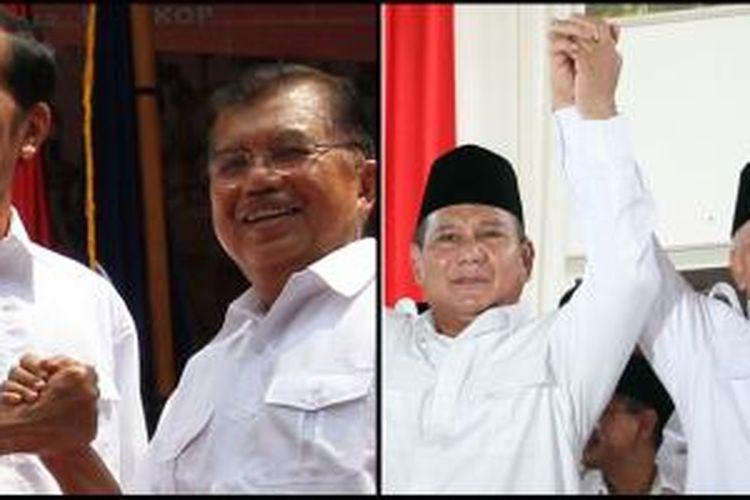 Pasangan Joko Widodo-Jusuf Kalla (kiri) saat deklarasi di Gedong Joang, Jakarta, dan pasangan Prabowo Subianto-Hatta Rajasa saat deklarasi di Rumah Polonia, Jakarta, Senin (18/5/2014).