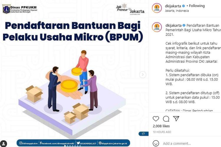 Bantuan Pemerintah Bagi Usaha Mikro (BPUM) DKI Jakarta Tahun 2021