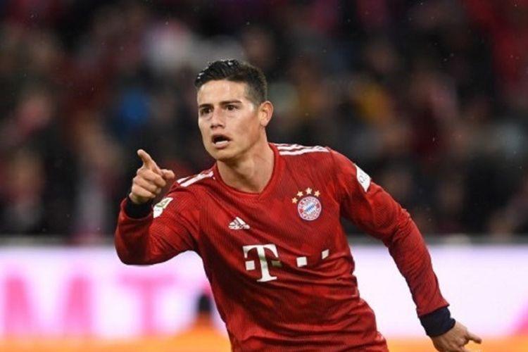 James Rodriguez mencetak hat-trick pada pertandingan Bayern Muenchen vs Mainz 05 di Allianz Arena dalam lanjutan Liga Jerman, 17 Maret 2019.